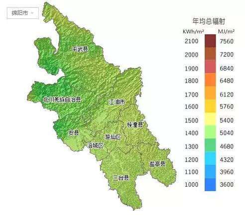 四川省各市太阳能资源分布地图(组图)
