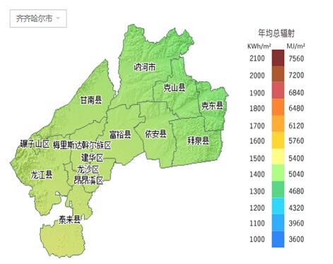 双鸭山市——年均总辐射图片