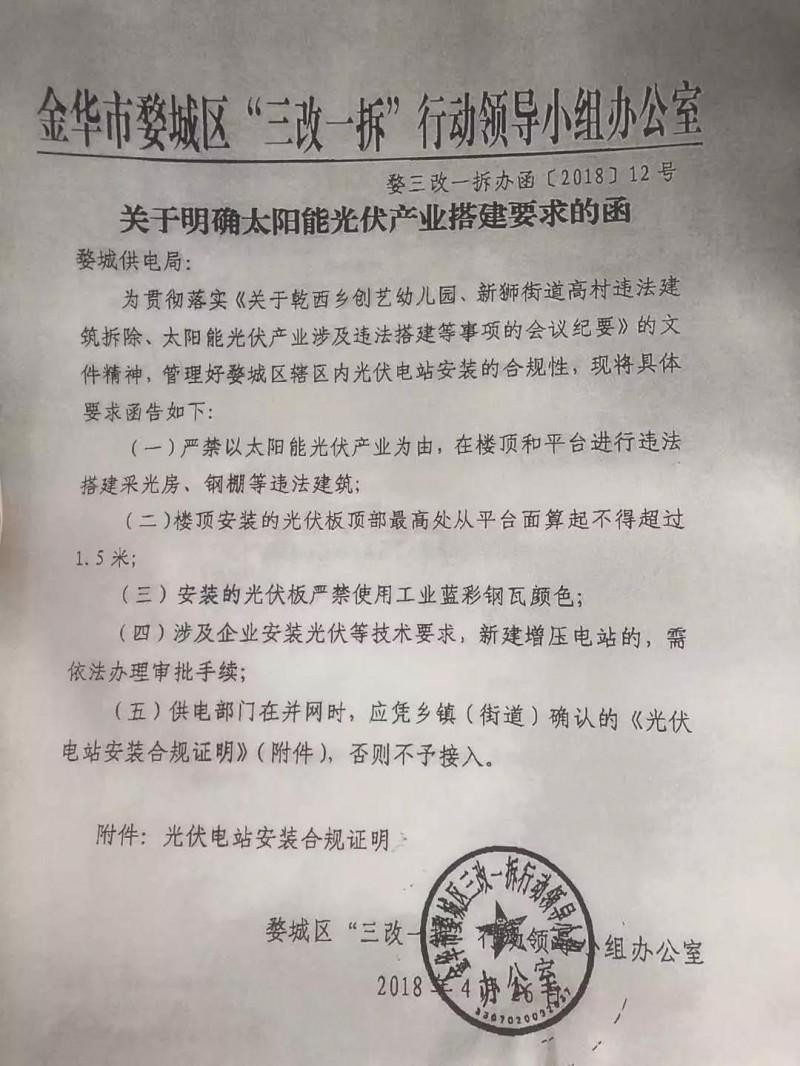 金华婺城区出台光伏新规 被禁的不只是多晶!