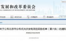 北京市分布式光伏发电项目奖励:0.3元/度 连补5年