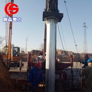 35KV电力钢杆 终端钢管杆 钢杆基础打桩施工