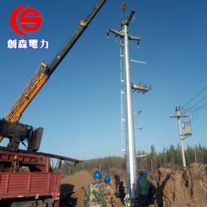 电力钢杆输变电线路钢杆35KV双回路终端杆双回路直线杆-- 霸州市创森电力机具制造有限公司