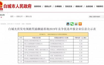 华能0.36元/kWh!白城公示光伏领跑基地奖励规模优选企业申报电价