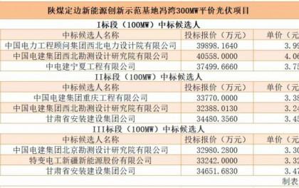 最低3.24元/瓦!陕煤冯湾300MW平价光伏EPC公示中标候选人